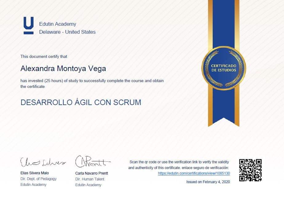 Certificación en desarrollo ágil con SCRUM