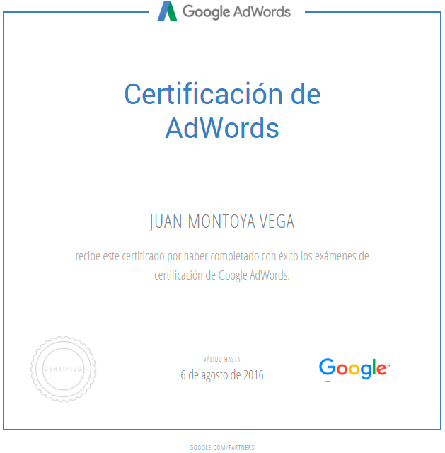 Certificado Google Adwords